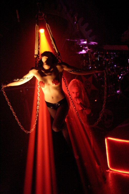 Photo of Brandy The Chains Lady of the Genitorturers that John Schlick was the Concert Lighting Designer for.