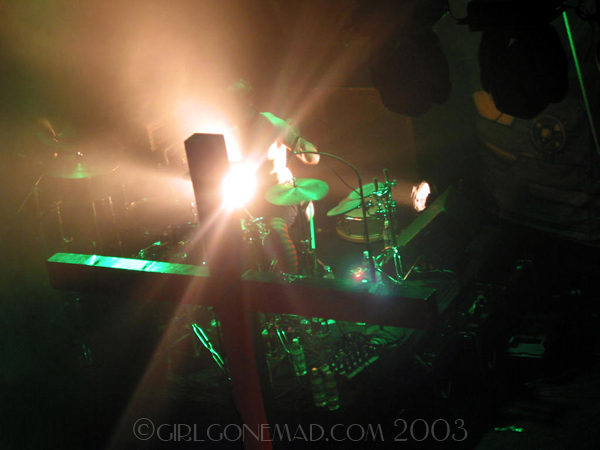 Photo of the Genitorturers at the Key Club in LA highliting the drumkit. John Schlick was the Lighting Designer for this show.