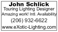 The ad that John Schlick ran in Billboard magazine advertizing Lighting Design services.