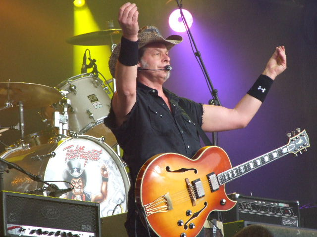 Photo of Ted Nugent taken at BosPop 2008 that John Schlick was the Lighting Designer for.