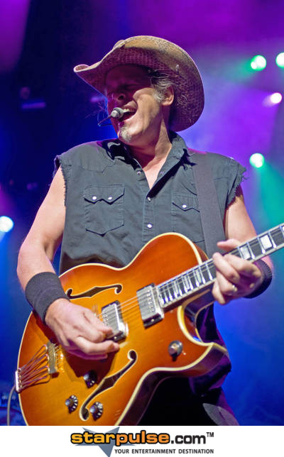 Photo of Ted Nugent at the O2 arena in London John Schlick was the Lighting Designer for.