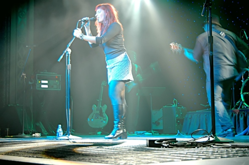 Two Loons for Tea: Shot of Sarah the lead singer framed in White.  John Schlick was the Lighting Designer for this show.